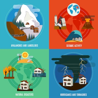 Desastres naturales 4 iconos planos pancarta cuadrada con actividad sísmica huracanes y tornados