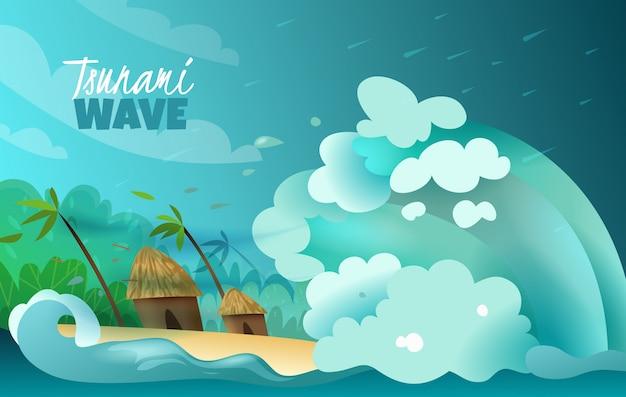 Desastres naturales estilizado colorido póster con colosal ola de tsunami estrellándose en tierra devastadores bungalows y palmeras