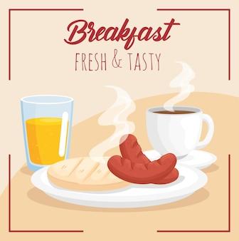 Desayuno arepa salchichas jugo y taza de café ilustración