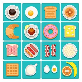 Desayuno comida y bebidas iconos planos