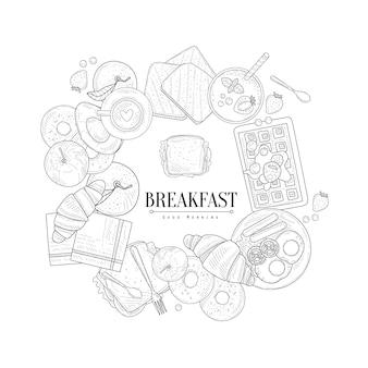 Desayuno comida enmarcando el texto dibujado a mano dibujo realista