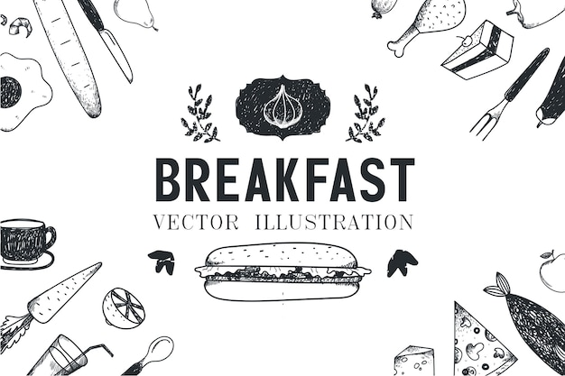 Desayuno, comida ilustración dibujada a mano, pancarta, portada del menú, póster. en blanco y negro