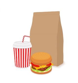 Desayuno de comida rápida, coca cola con embalaje artesanal