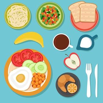 Desayuno comiendo alimentos y bebidas en la vista superior de la mesa