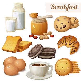 Desayuno. conjunto de comida de dibujos animados