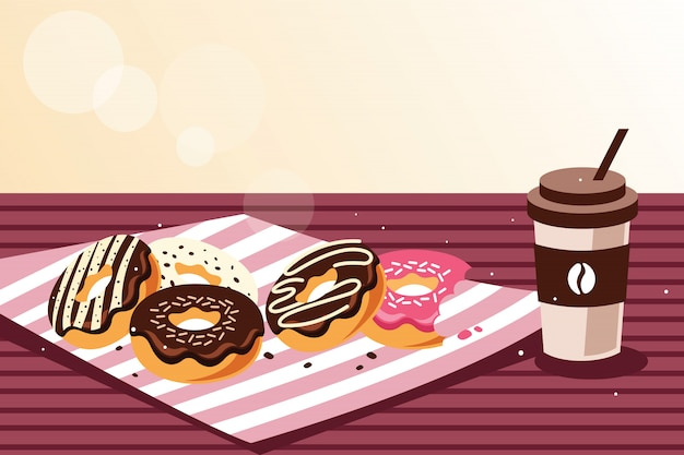 Desayuno con donuts y café.