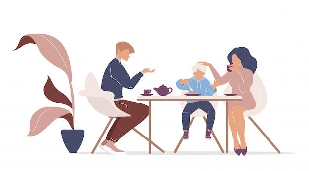 Desayuno familiar color personajes sin rostro