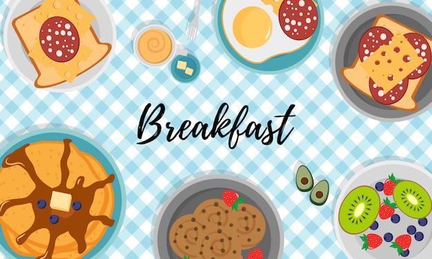 Desayuno con frutas tocino y huevos, perejil, tostadas con salchichas y queso. concepto de desayuno con comida fresca, vista superior. hora de comer. ilustración en diseño plano,.