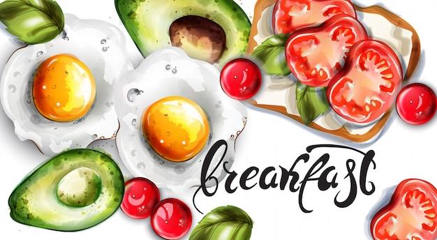 Desayuno huevos aguacate y tostadas.