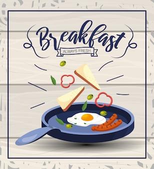 Desayuno de huevos fritos con salchichas en la sartén.
