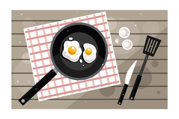 Desayuno con huevos fritos en sartén.