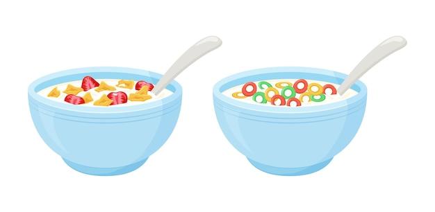 Desayuno con leche de cereales. tazón de avena arrollada, copos de colores crujientes y dulces con fresa. ilustración