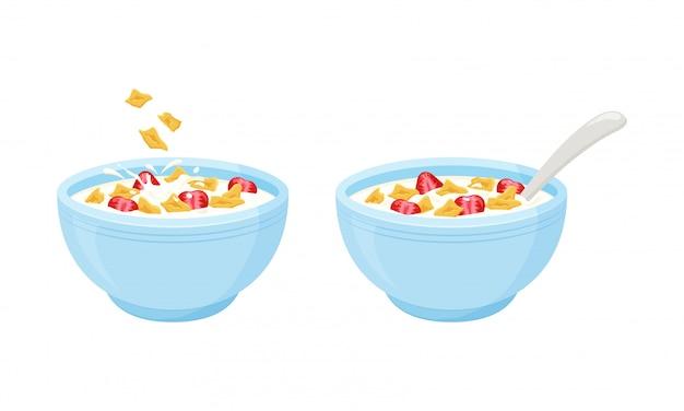 Desayuno de leche en hojuelas de cereales. cuenco de avena arrollada con fresa. ilustración