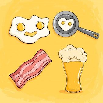 Desayuno por la mañana con huevo frito, tocino y un vaso de cerveza.