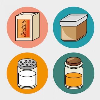 Desayuno mantequilla miel sal iconos