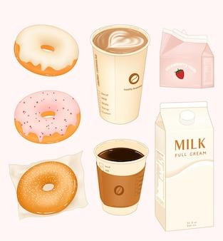 Desayuno matutino con donas de café y leche.
