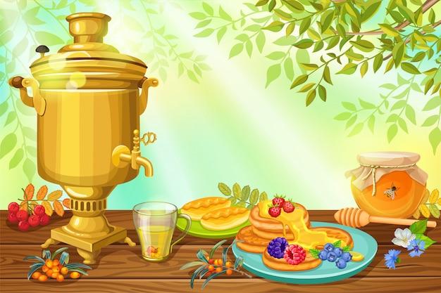 Desayuno, miel y panqueques.