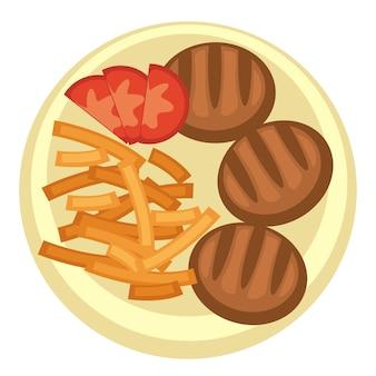 Desayuno o almuerzo en cena o restaurante económico. placa aislada con patatas fritas y albóndigas con tomate fresco. palitos de patata fritos y salados y filete de cordero a la plancha. vector en estilo plano