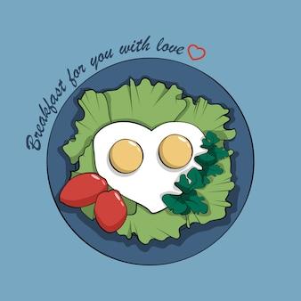 Desayuno romántico de huevos revueltos.