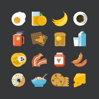 Desayuno saludable comida y bebidas plana vector