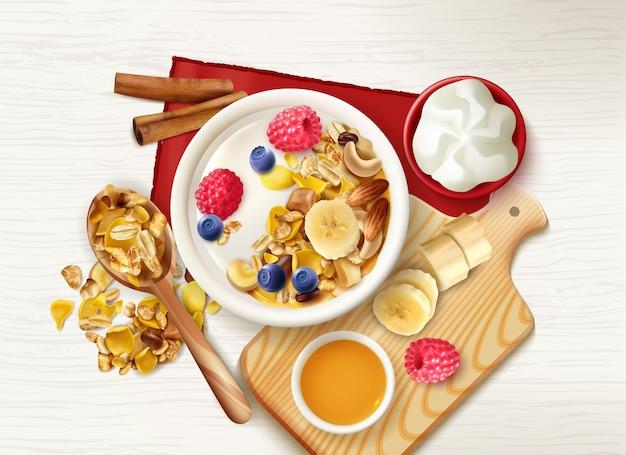 Desayuno saludable de frutas muesli realistas con vista superior de la mesa con cereales cuchara y platos