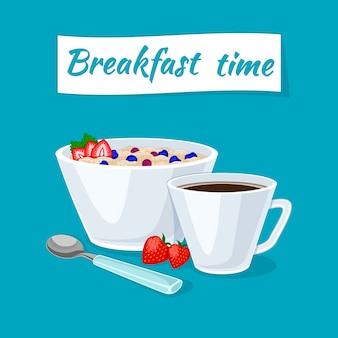 Desayuno saludable. gachas de avena en el tazón con fresas y bayas.