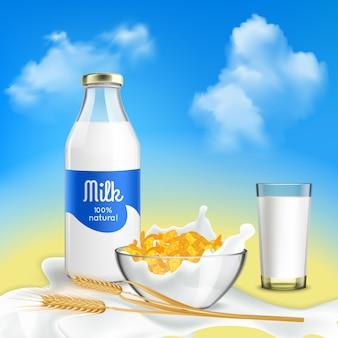 Desayuno saludable con leche natural y hojuelas de cereales.