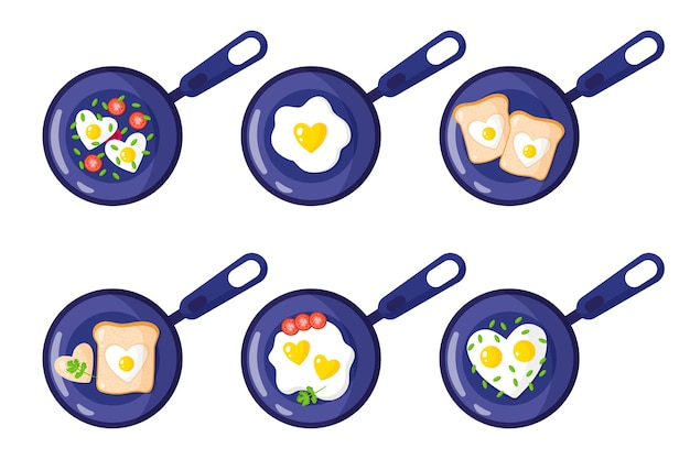 Desayuno en sartén: tostadas, huevos revueltos, tortilla en forma de corazón.