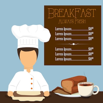 Desayuno siempre fresco menú chef pan café cocinar