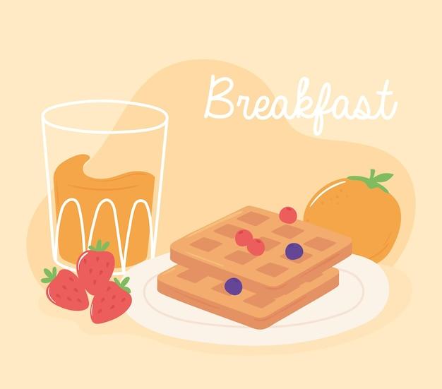 Desayuno waffle jugo de naranja y fresas deliciosa comida ilustración de dibujos animados