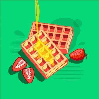 Desayuno de wafles