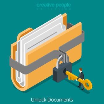 Desbloquear carpeta de documento de archivo de datos seguro con icono de llave de bloqueo