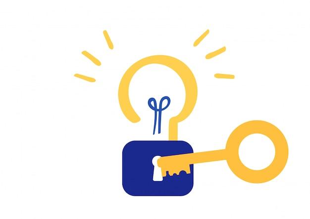 Desbloquear idea creatividad símbolo vector