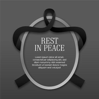 Descansa en paz marco ovalado con cinta