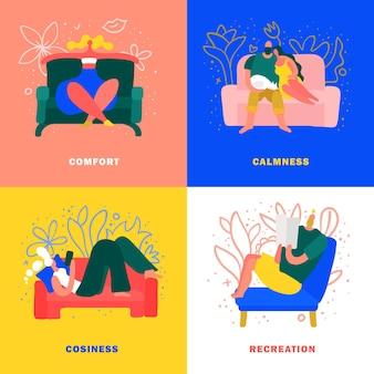 Descansar en muebles cómodos en concepto de hogar acogedor aislado