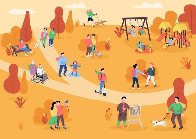 Descansar en otoño parque color plano. personas que caminan con mascotas. los visitantes del parque se divierten. pasatiempo. área de recreación al aire libre en otoño personajes de dibujos animados en 2d con árboles en el fondo