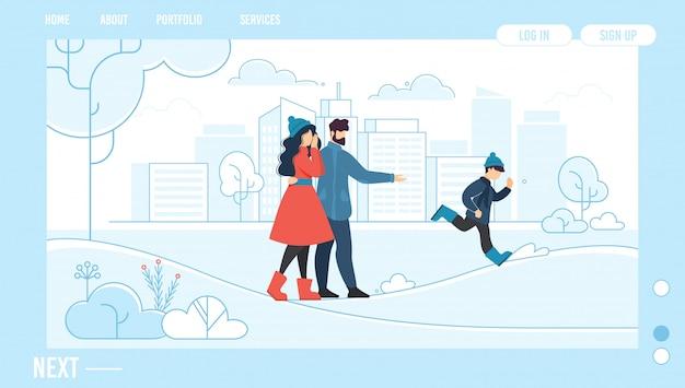 Descanso familiar al aire libre en invierno página de inicio de diseño