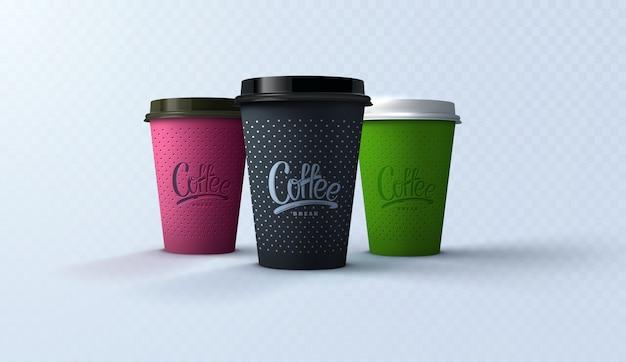Descanso. maquetas de papel de tazas de café. ilustración 3d realista. diseño de paquete para branding o anuncios.