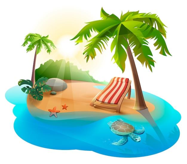 Descanso de verano. chaise lounge debajo de palmera en isla tropical