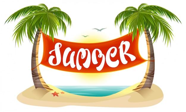 Descanso de verano. palmeras tropicales, mar, playa. banner de texto de letras de verano
