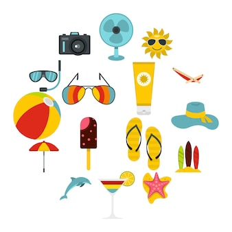 Descanso de verano set iconos flat
