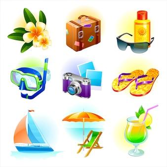 Descanso y viaje conjunto. artículos y objetos de vacaciones de verano.