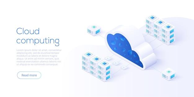 Descarga de almacenamiento en la nube en diseño isométrico