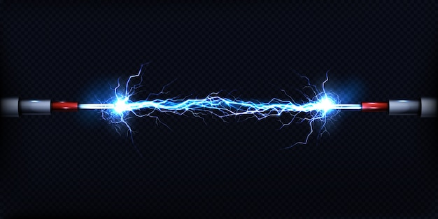 Descarga eléctrica que pasa por el aire entre dos piezas de cables desnudos.