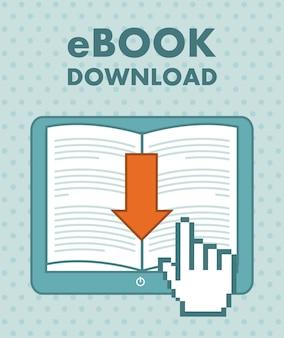 Descarga de libros electrónicos sobre fondo vintage ilustración vectorial
