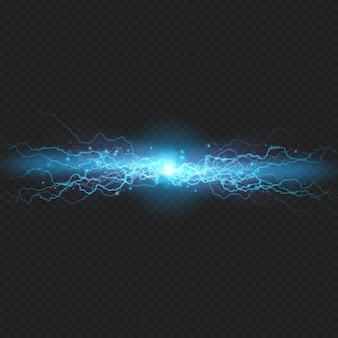 Descarga relámpago de electricidad sobre fondo transparente. efecto visual eléctrico azul.