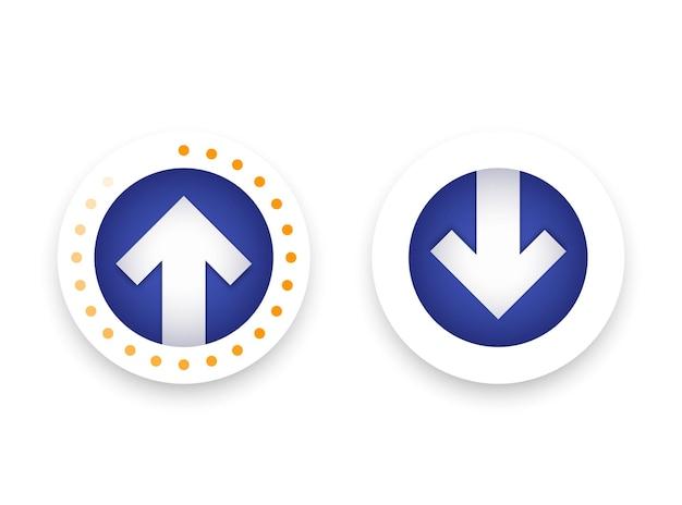Descargar, cargar iconos, botones de vector con flecha