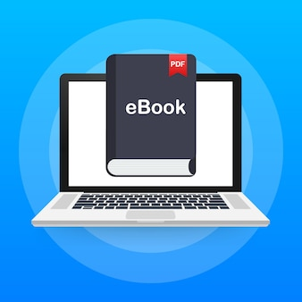 Descargar libro. marketing de libros electrónicos, marketing de contenidos, descarga de libros electrónicos en la computadora portátil. ilustración.