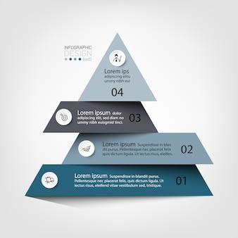 Describir un proceso o mostrar los resultados en una infografía de diagrama esquemático piramidal