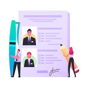 Descripciones de trabajo, ilustración de headhunting de reclutamiento.
